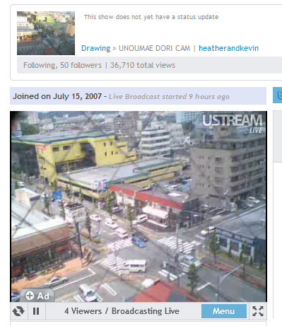 Unoumae-dori cam on Ustream.tv