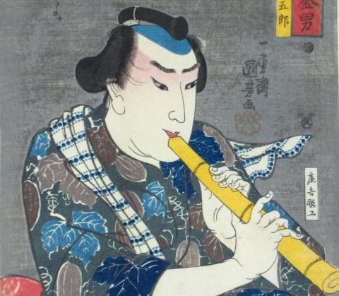 Shakuhachi ukiyo-e by Ichiyusai Kuniyoshi